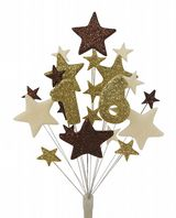 Number age 16th birthday cake topper decoration in choc, gold and cream - free postage